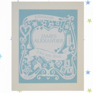 Personalised New Baby Papercut – Boy or Girl