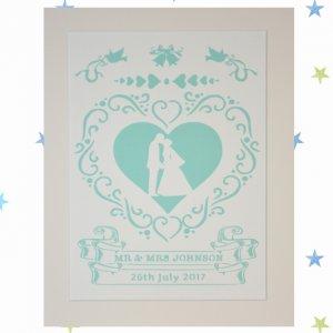Personalised Wedding Papercut, Anniversary Gift